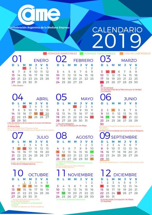 calendario feriados 2019 came